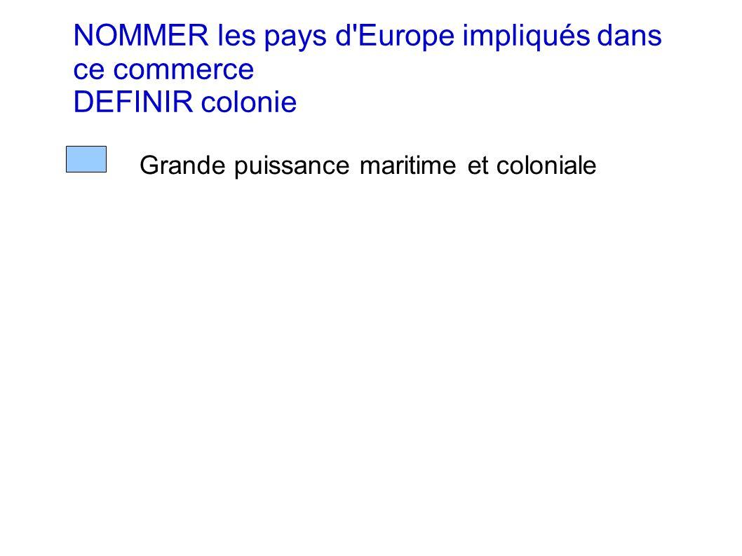NOMMER les pays d Europe impliqués dans ce commerce DEFINIR colonie