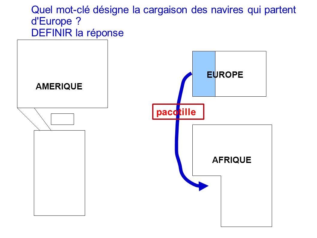 Quel mot-clé désigne la cargaison des navires qui partent d Europe
