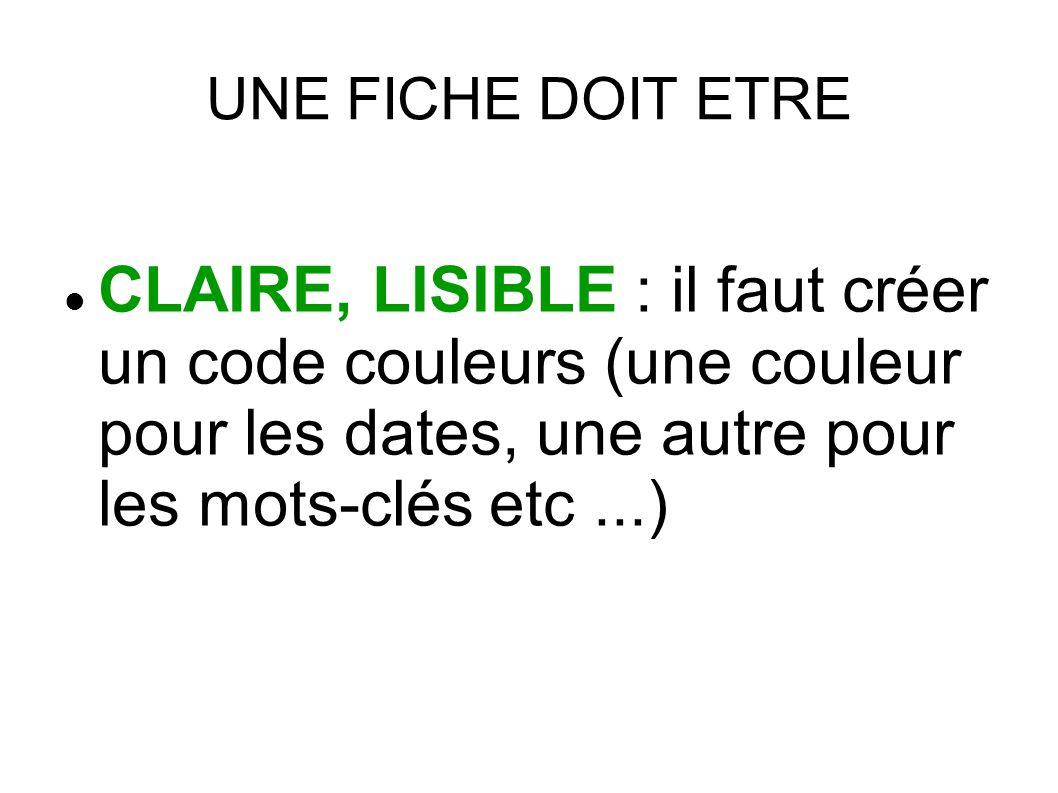 UNE FICHE DOIT ETRE CLAIRE, LISIBLE : il faut créer un code couleurs (une couleur pour les dates, une autre pour les mots-clés etc ...)