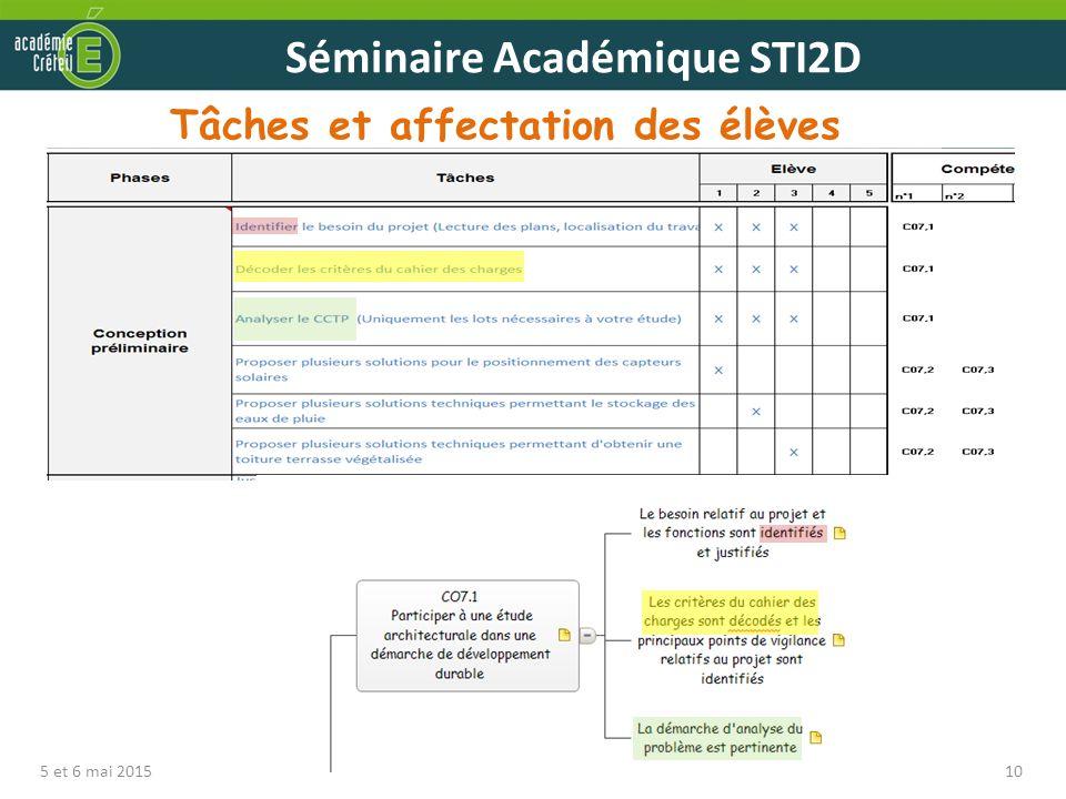 Tâches et affectation des élèves