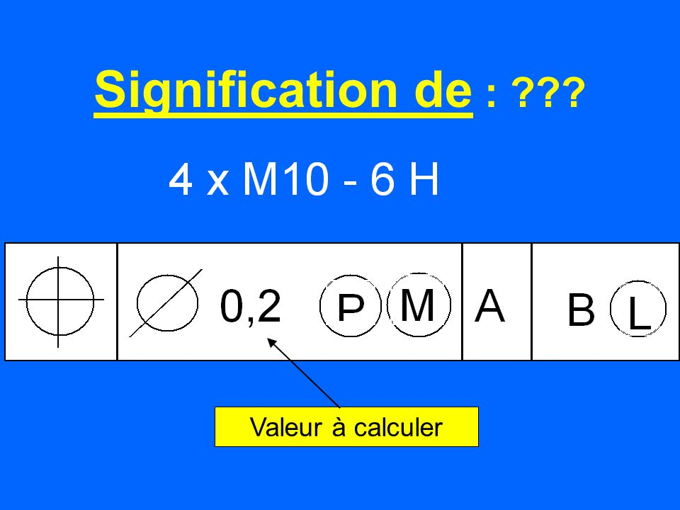 Signification de : Valeur à calculer