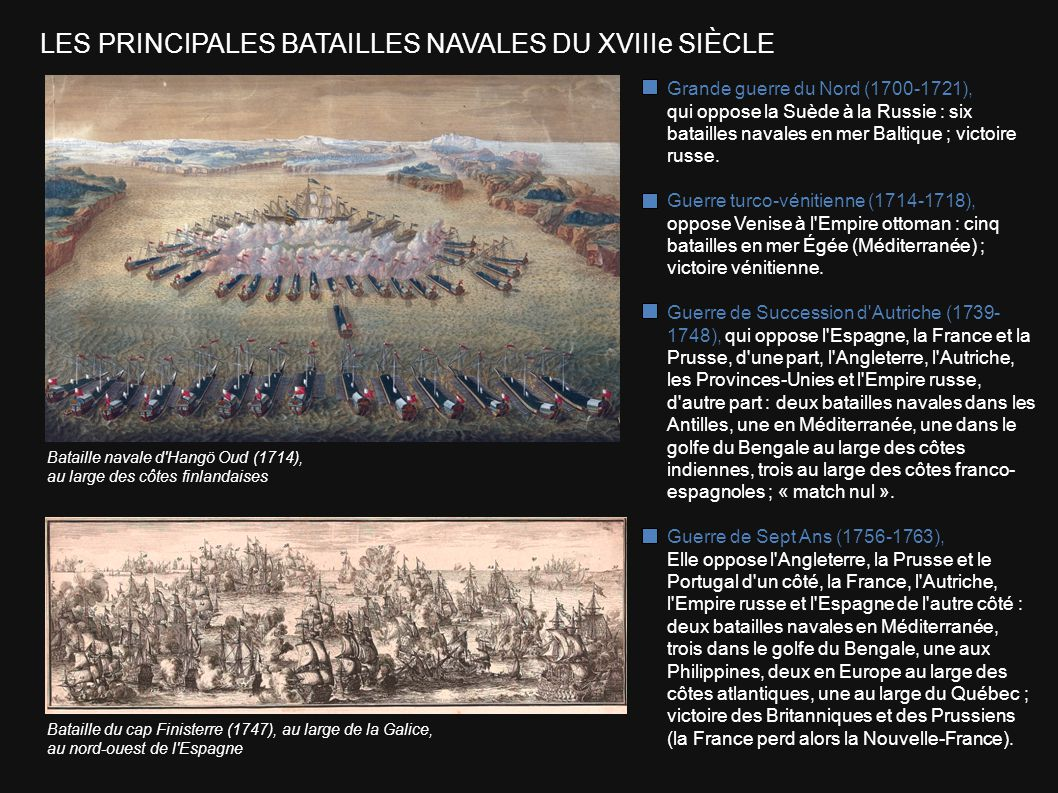 LES PRINCIPALES BATAILLES NAVALES DU XVIIIe SIÈCLE