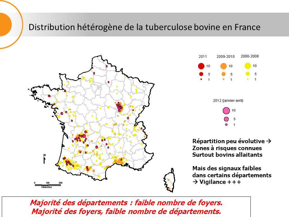 Distribution hétérogène de la tuberculose bovine en France