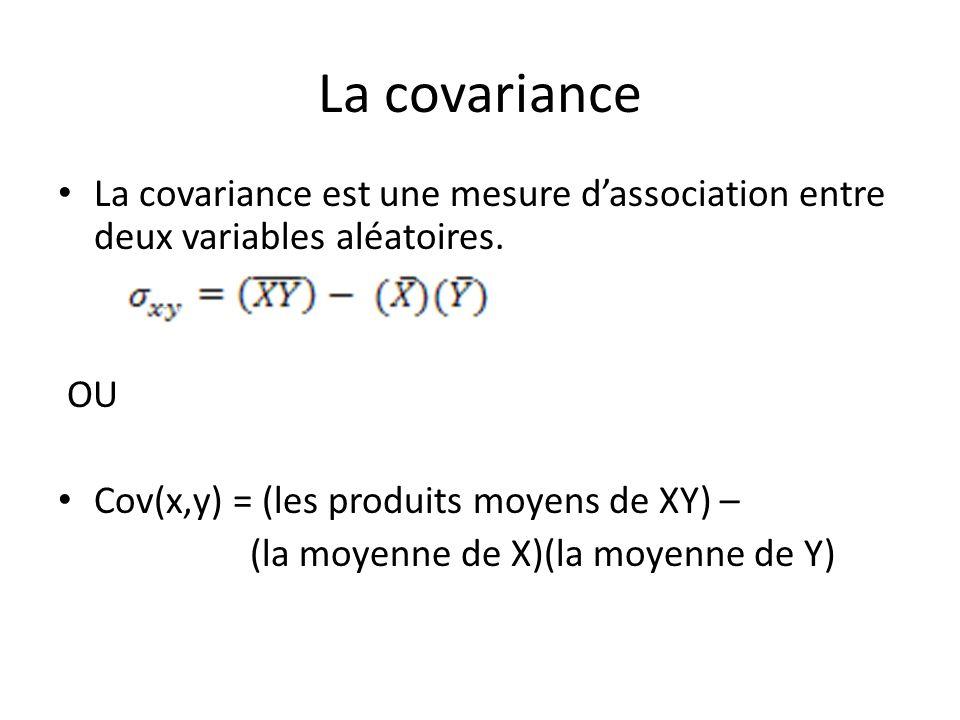 La covariance La covariance est une mesure d'association entre deux variables aléatoires. OU. Cov(x,y) = (les produits moyens de XY) –