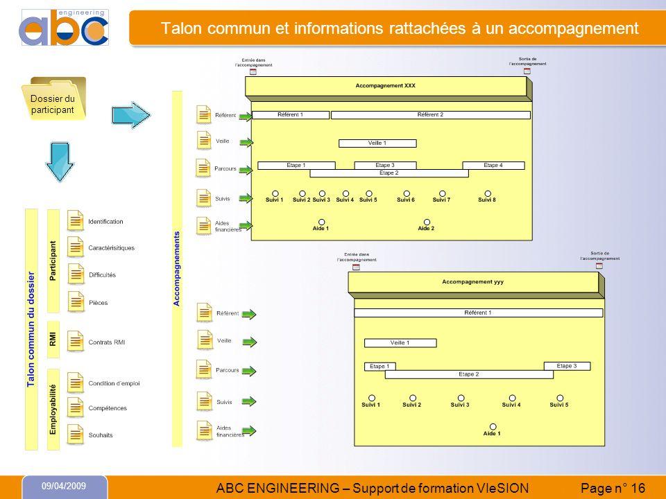 Talon commun et informations rattachées à un accompagnement