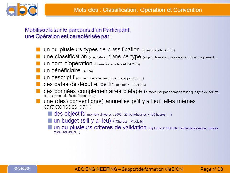 Mots clés : Classification, Opération et Convention