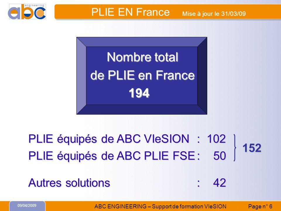 PLIE EN France Mise à jour le 31/03/09