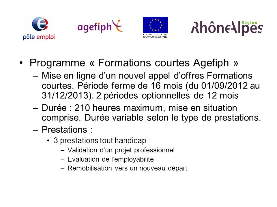 Programme « Formations courtes Agefiph »