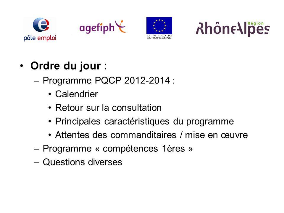 Ordre du jour : Programme PQCP 2012-2014 : Calendrier