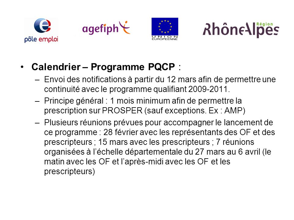 Calendrier – Programme PQCP :