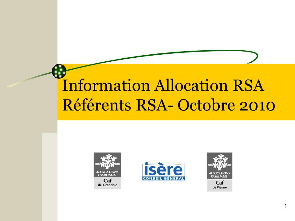 Information Allocation RSA Référents RSA- Octobre 2010