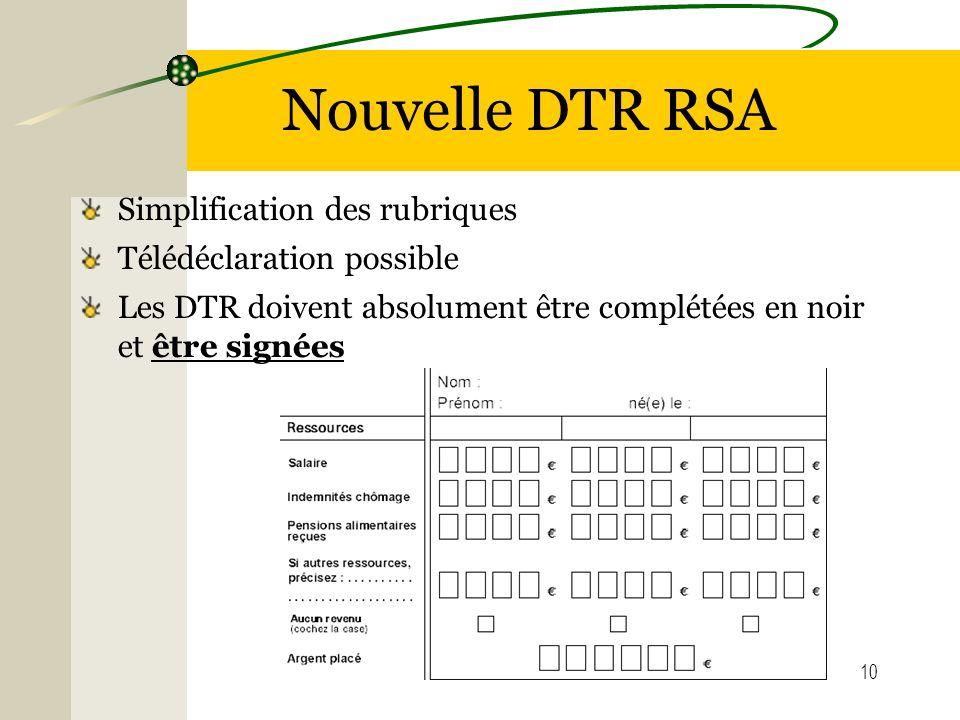 Nouvelle DTR RSA Simplification des rubriques Télédéclaration possible