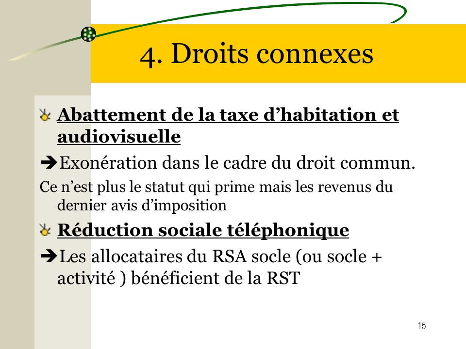 4. Droits connexes Abattement de la taxe d'habitation et audiovisuelle
