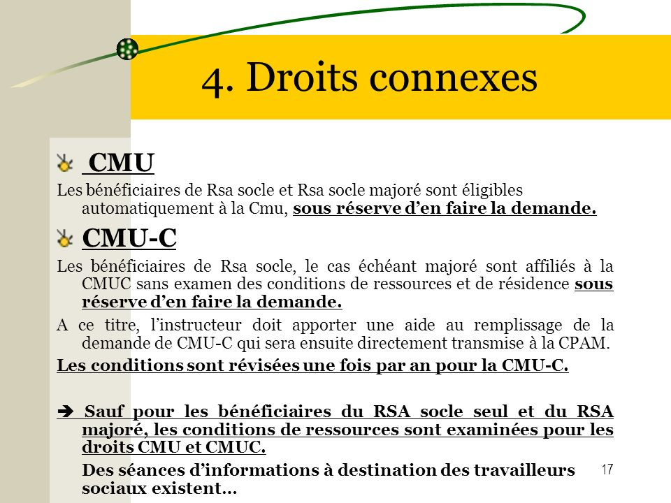 4. Droits connexes CMU CMU-C