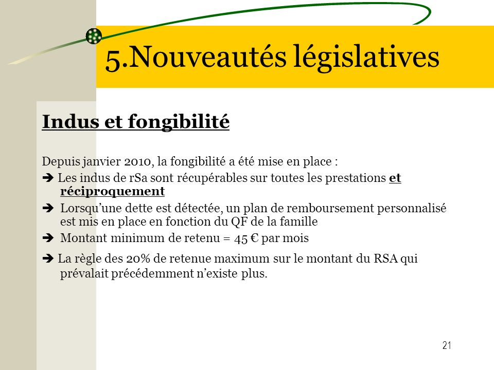 5.Nouveautés législatives