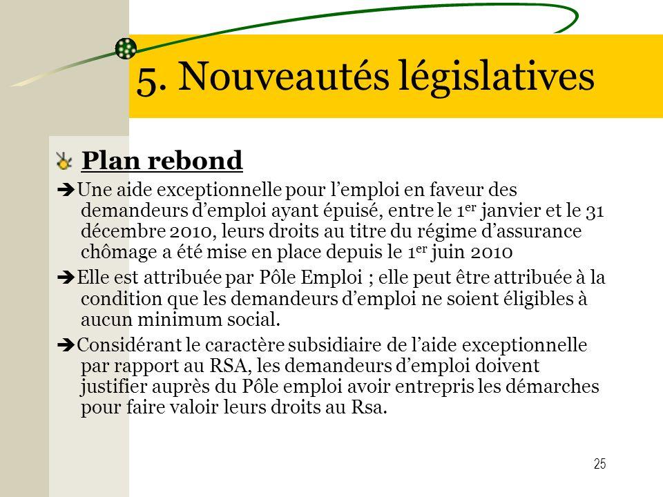 5. Nouveautés législatives