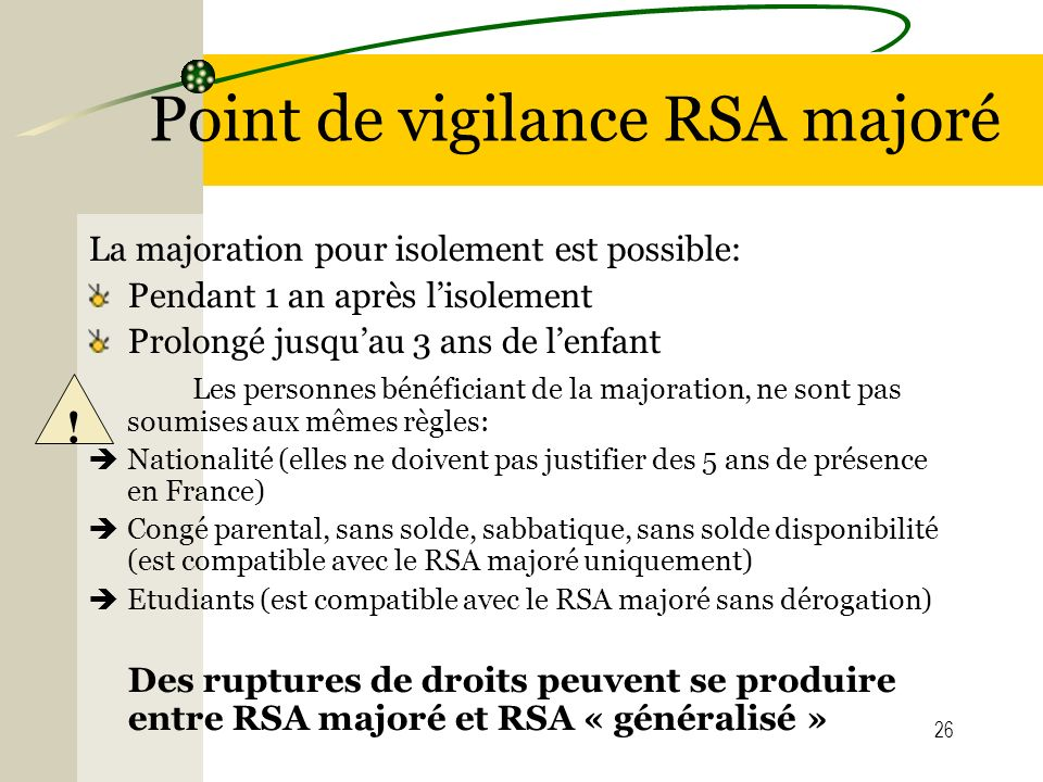 Point de vigilance RSA majoré