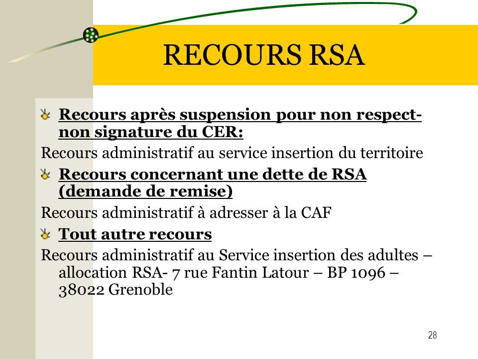 RECOURS RSA Recours après suspension pour non respect- non signature du CER: Recours administratif au service insertion du territoire.
