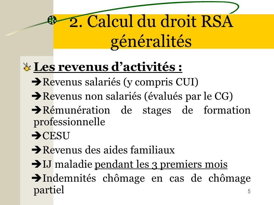 2. Calcul du droit RSA généralités