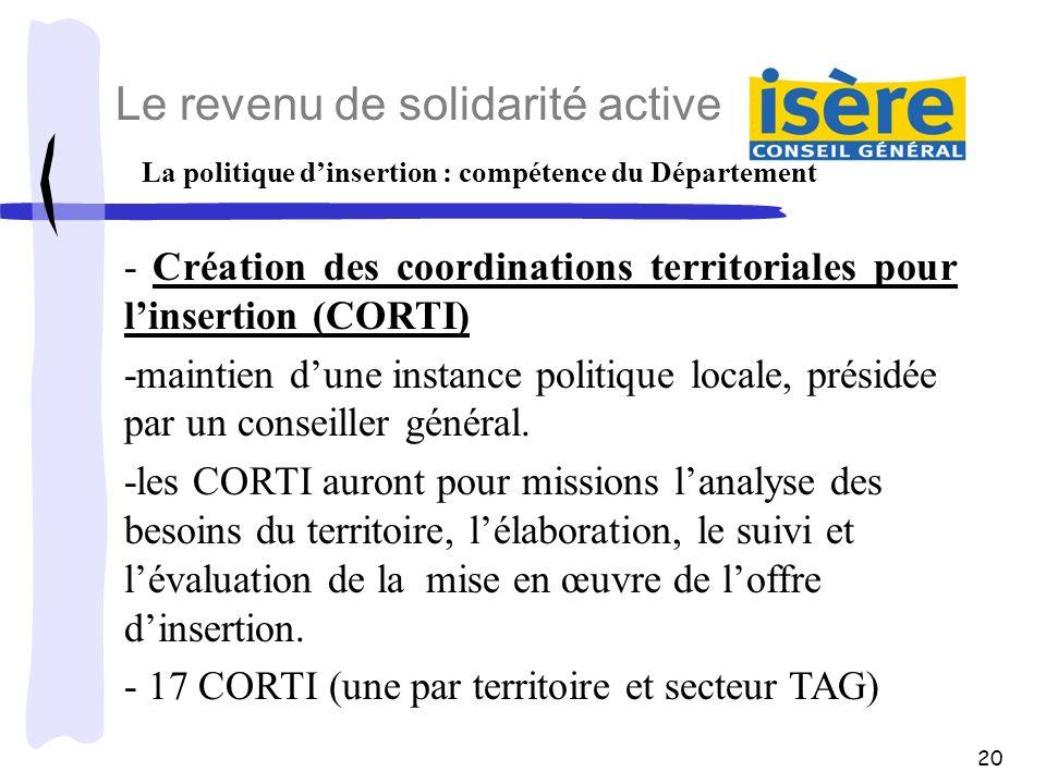 La politique d'insertion : compétence du Département