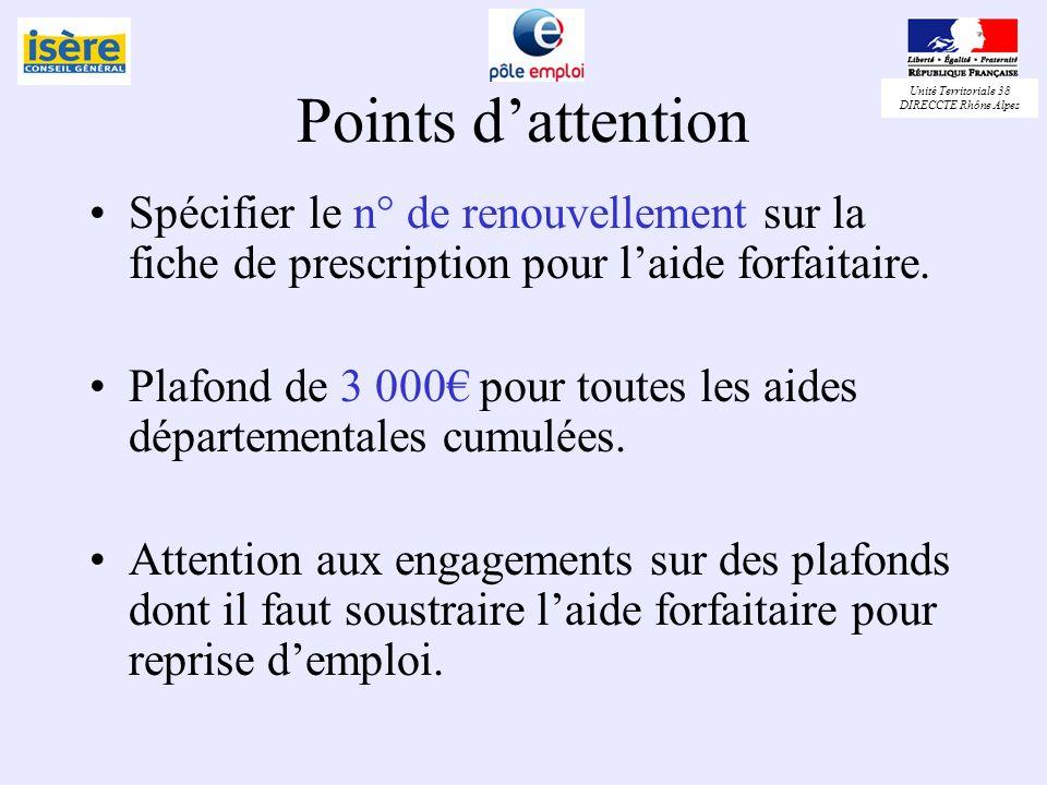 Points d'attention Spécifier le n° de renouvellement sur la fiche de prescription pour l'aide forfaitaire.