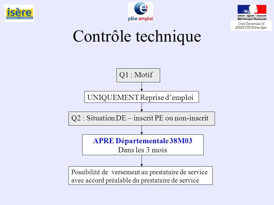 Contrôle technique Q1 : Motif UNIQUEMENT Reprise d'emploi