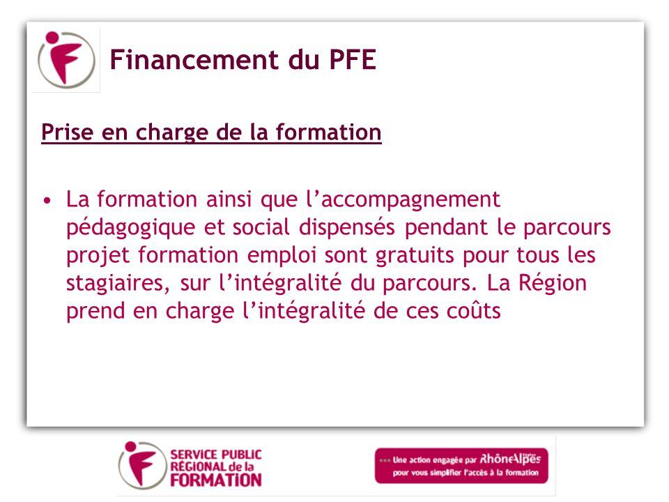Financement du PFE Prise en charge de la formation