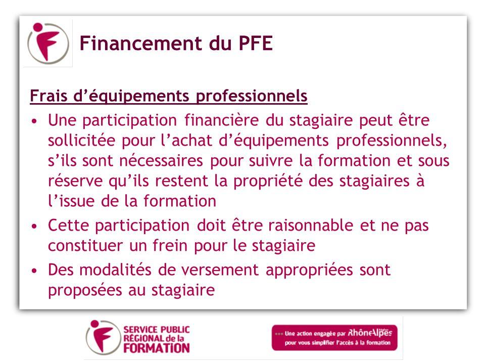 Financement du PFE Frais d'équipements professionnels