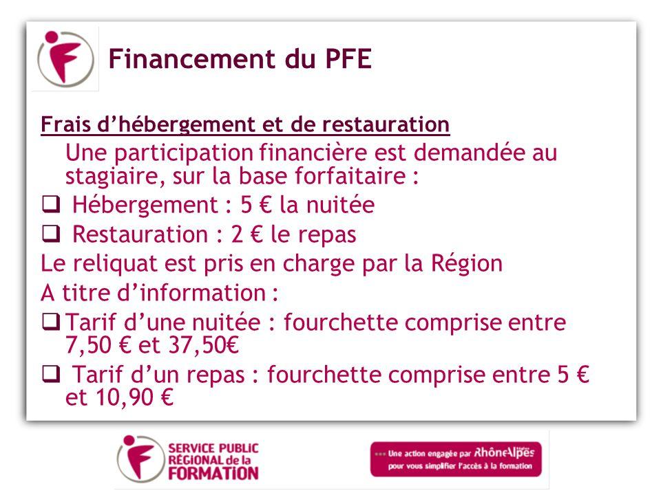 Financement du PFE Frais d'hébergement et de restauration. Une participation financière est demandée au stagiaire, sur la base forfaitaire :