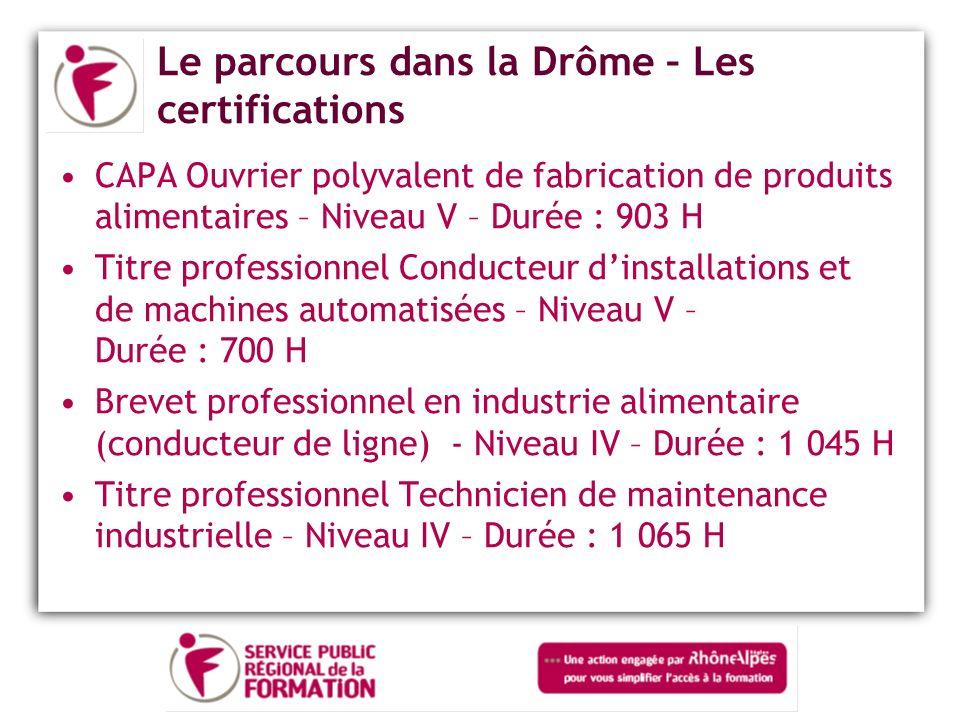 Le parcours dans la Drôme – Les certifications