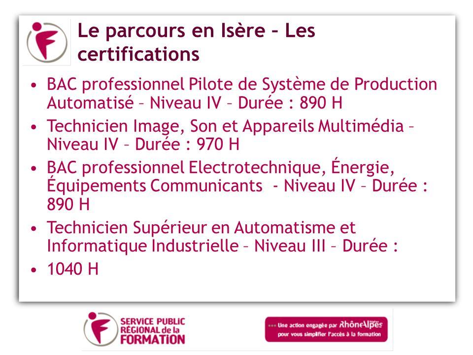 Le parcours en Isère – Les certifications