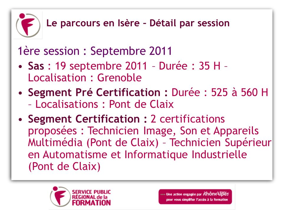 1ère session : Septembre 2011