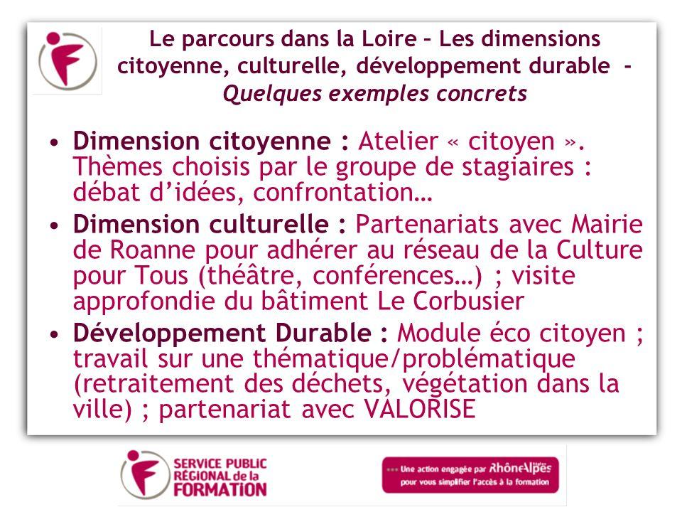 Le parcours dans la Loire – Les dimensions citoyenne, culturelle, développement durable - Quelques exemples concrets