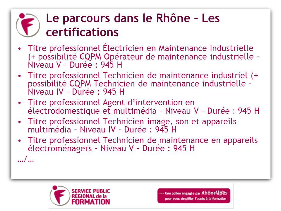 Le parcours dans le Rhône – Les certifications