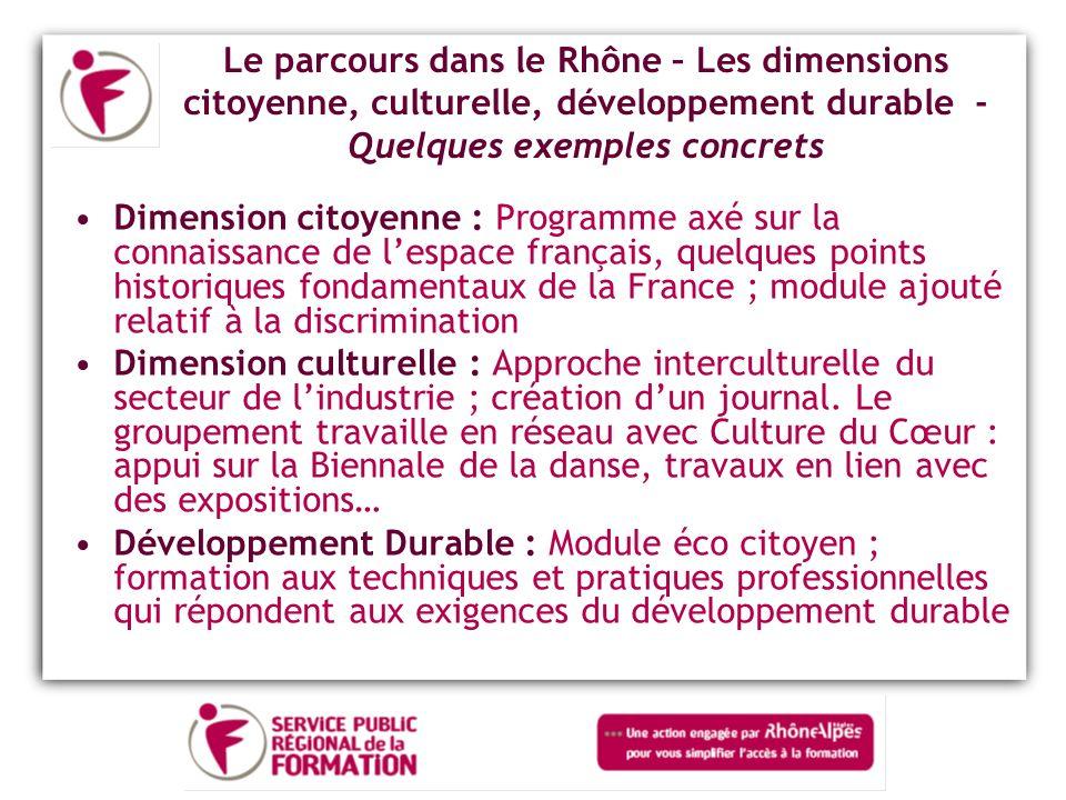 Le parcours dans le Rhône – Les dimensions citoyenne, culturelle, développement durable - Quelques exemples concrets