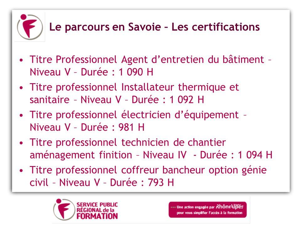 Le parcours en Savoie – Les certifications