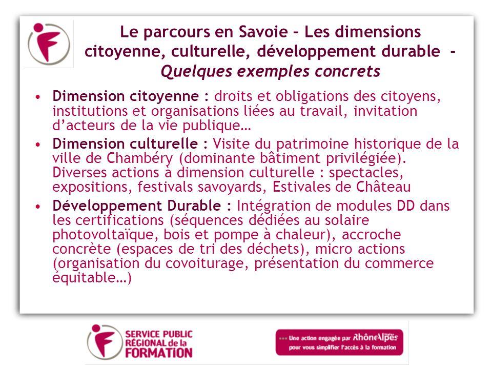 Le parcours en Savoie – Les dimensions citoyenne, culturelle, développement durable - Quelques exemples concrets