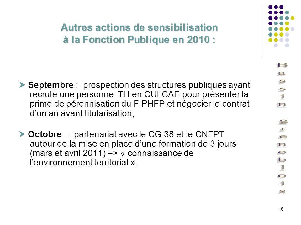 Autres actions de sensibilisation à la Fonction Publique en 2010 :