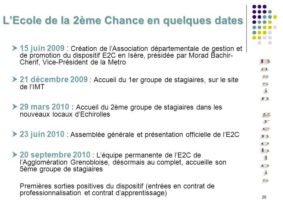 L'Ecole de la 2ème Chance en quelques dates