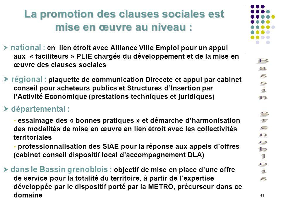 La promotion des clauses sociales est mise en œuvre au niveau :