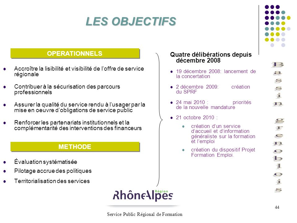 LES OBJECTIFS OPERATIONNELS METHODE