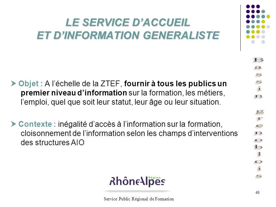 LE SERVICE D'ACCUEIL ET D'INFORMATION GENERALISTE