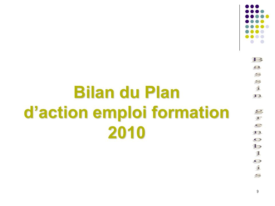Bilan du Plan d'action emploi formation 2010