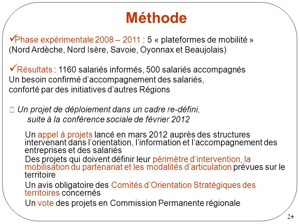 MéthodePhase expérimentale 2008 – 2011 : 5 « plateformes de mobilité » (Nord Ardèche, Nord Isère, Savoie, Oyonnax et Beaujolais)