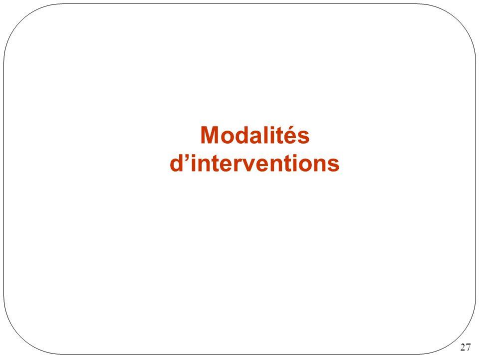 Modalités d'interventions