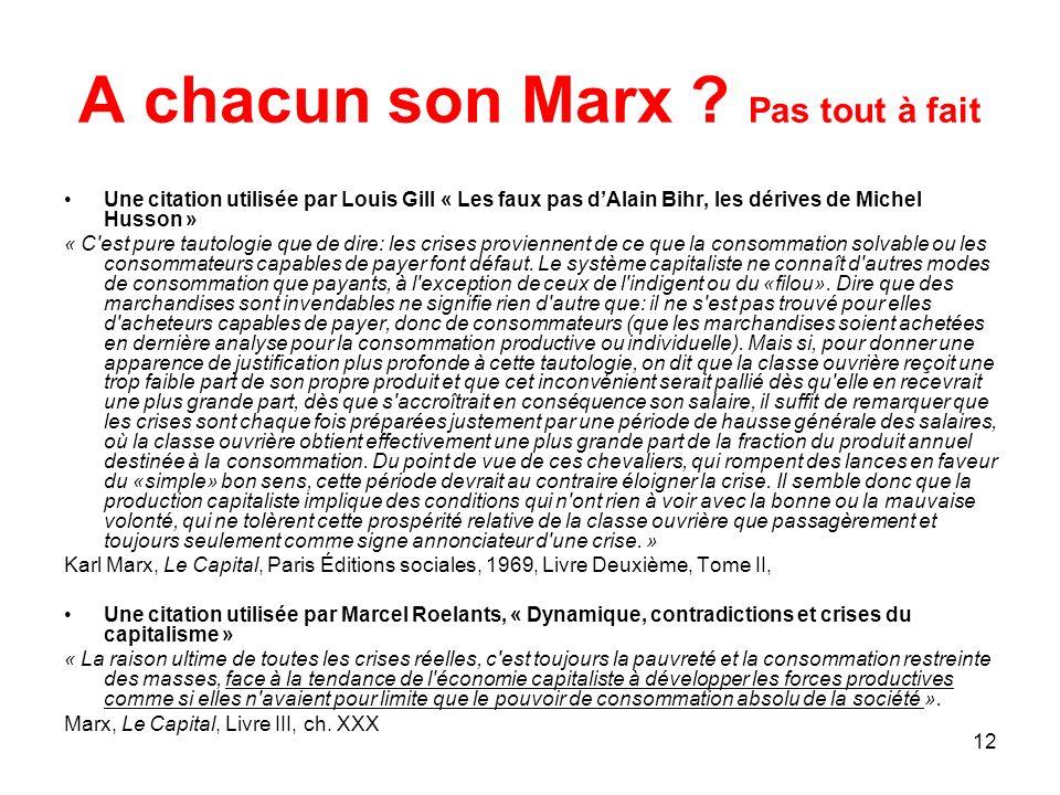 A chacun son Marx Pas tout à fait