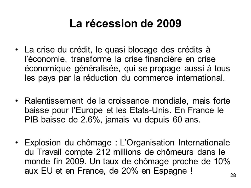 La récession de 2009