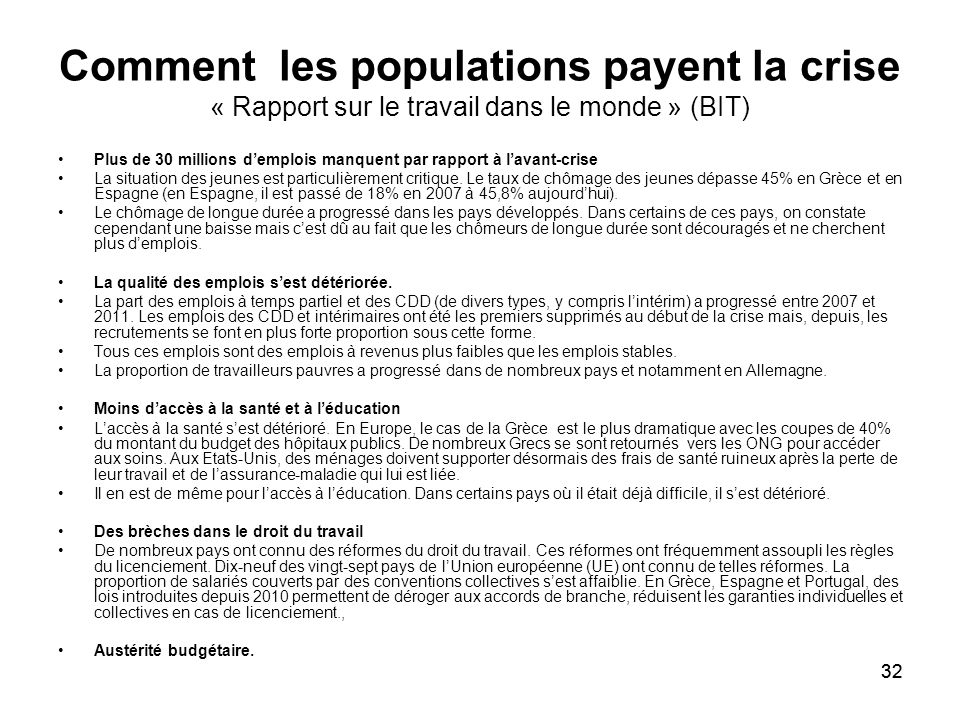 Comment les populations payent la crise « Rapport sur le travail dans le monde » (BIT)
