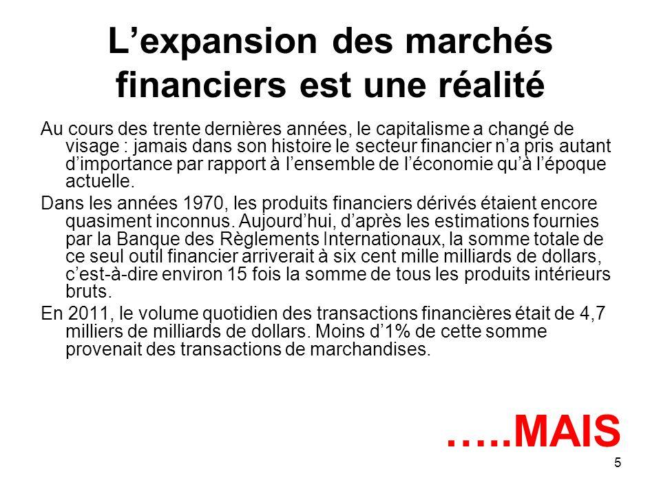L'expansion des marchés financiers est une réalité