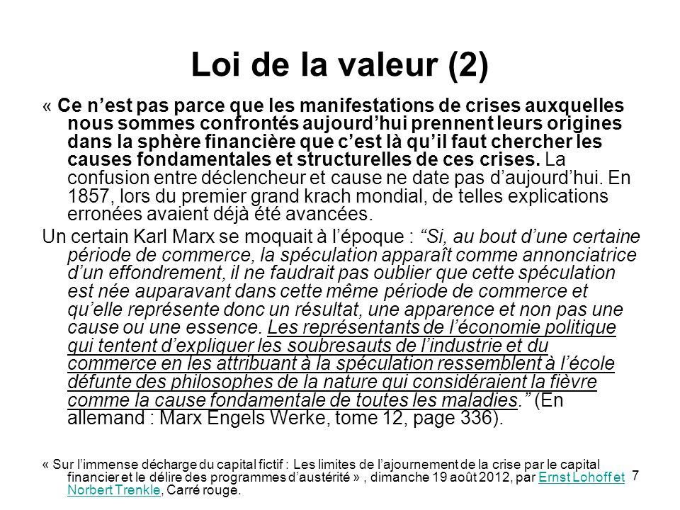 Loi de la valeur (2)